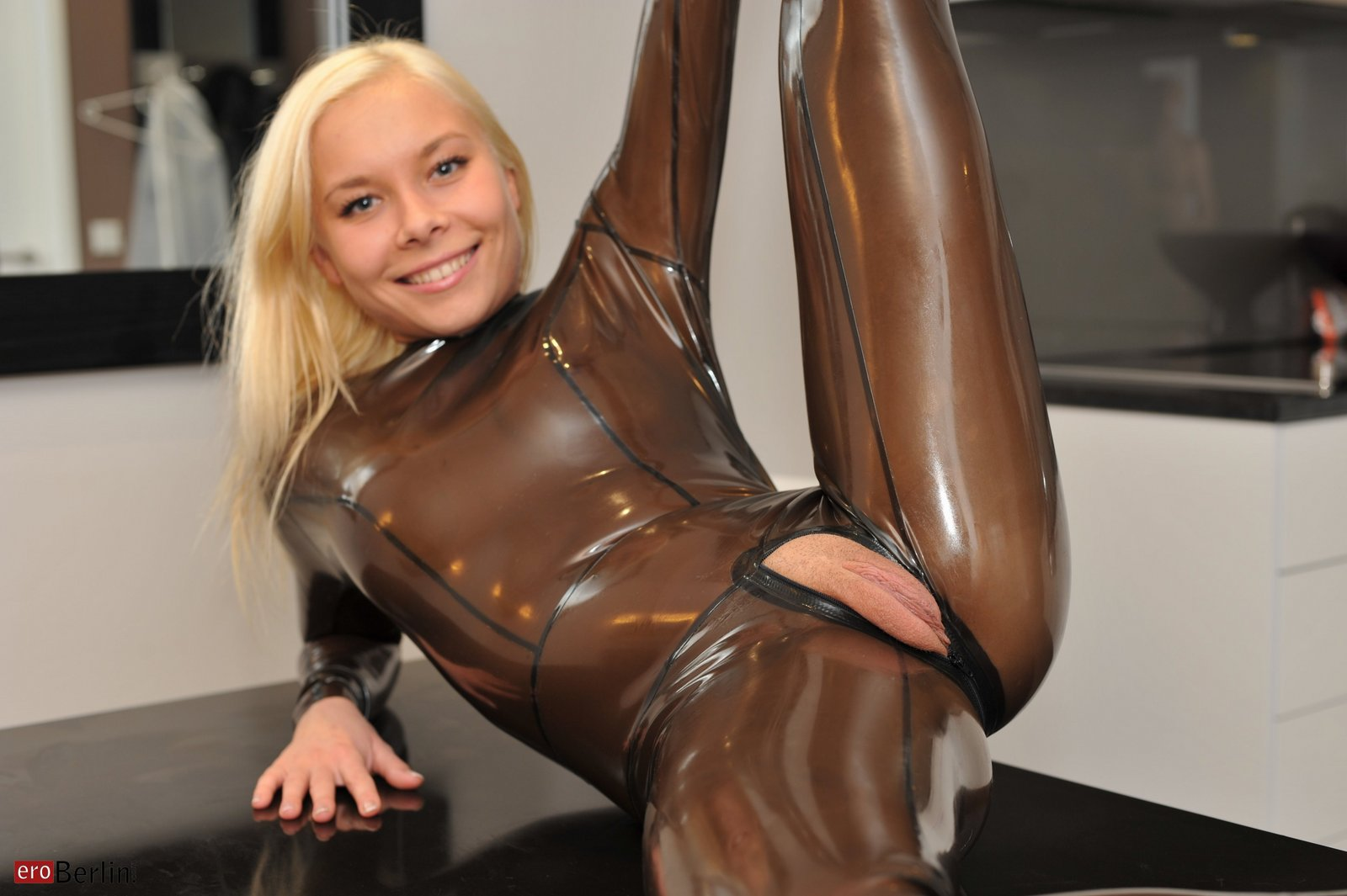 Teen girl in latex